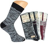 tolle dunkle Damensocken mit fancy Wellenringeln; Soft Cotton; Piquetrand ohne Gummi
